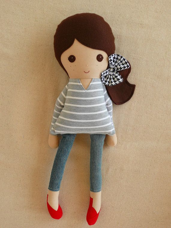 Fabric Doll Rag Doll Brown Haired Girl in Gray by rovingovine