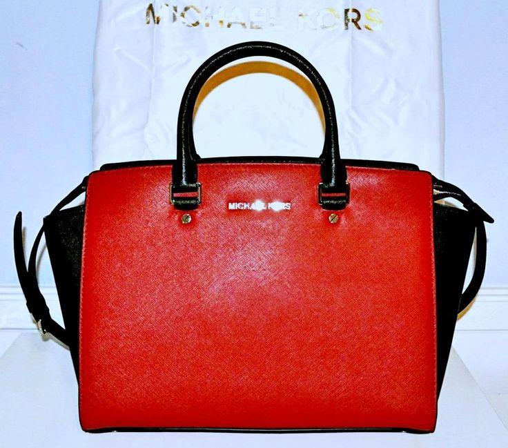 Michael Kors Selma Saffiano Leather Satchel Shoulder Handbag Purse Tote Bag Red #MichaelKors #SatchelToteBagCrossBody