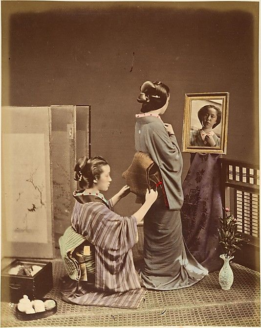 Two Japanese Women in Traditional Dress]  Shinichi Suzuki  (Japanese, 1835–1919)  Date: 1870s Medium: Albumen silver print from glass negative