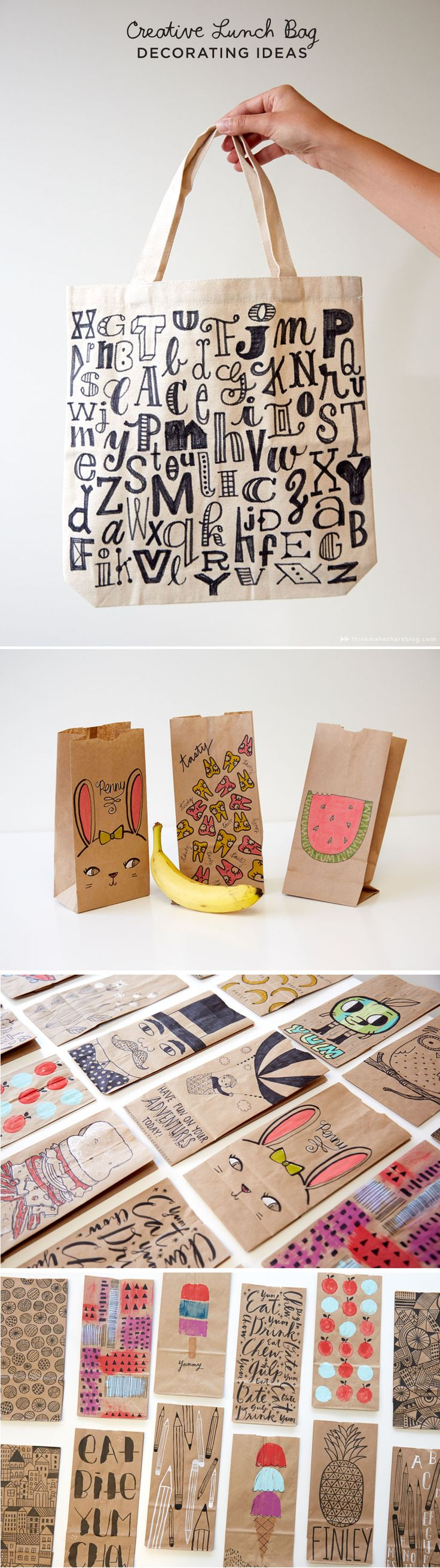 Creative Lunch Bag Decorating Ideas with Hallmark artists | thinkmakeshareblog.com