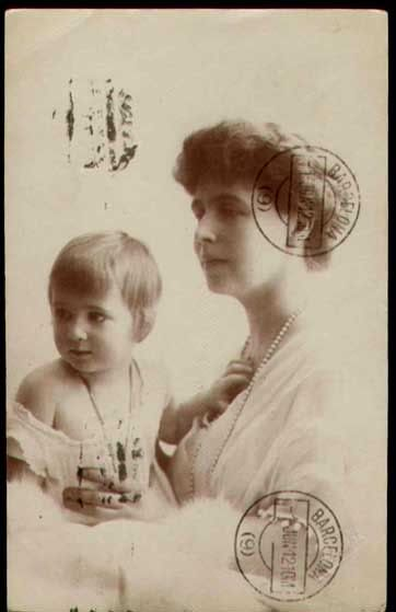 Princess Ileana of Romania with her mother, Queen Marie.  Like her little brother, Prince Mircea, Princess Ileana was fathered by her mother's long time lover, Barbu Stirbey.