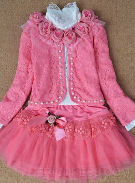 Comfortable Lace Three Pieces Set Floral Girl's Skirt Suit Girls Outfits