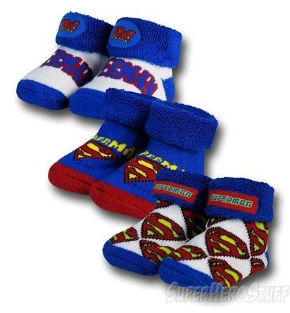 Images of Superman Infant Booties 3-Pack