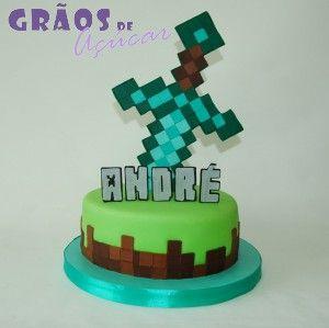 Minecraft - Espada - Grãos de Açúcar - Bolos decorados - Cake Design