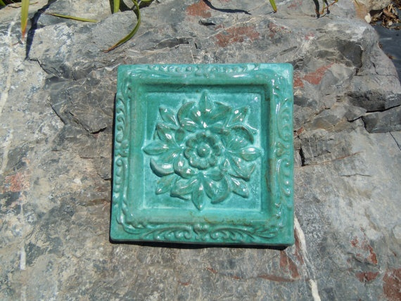 concrete old world dcor square tile by concreteyarddecor on etsy 1200 - Concrete Tile Garden Decor