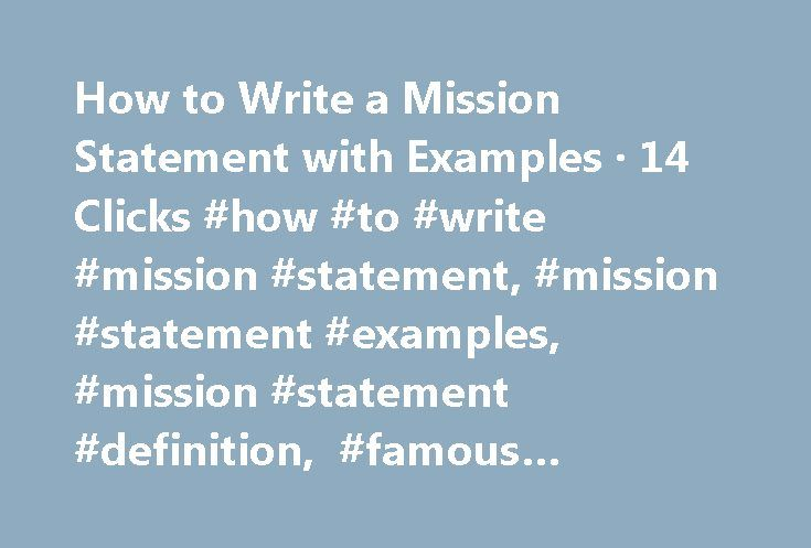 how write a mission statement