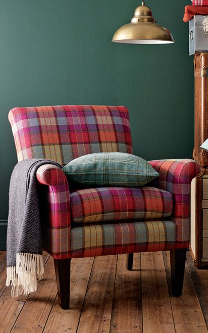 Multimix Colour blanket Check on John Lewis colourful plaid chair.