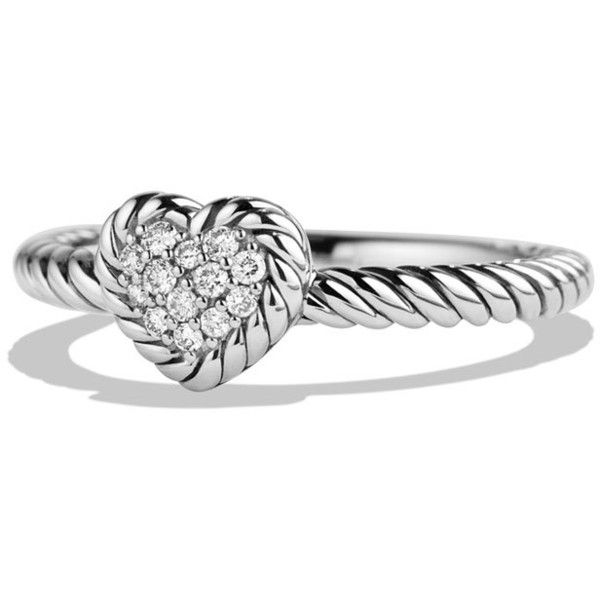 David Yurman 8mm Valentine Hearts Diamond Ring ($525) ❤ liked on Polyvore featuring jewelry, rings, diamonds, sterling silver band rings, spiral diamond ring, heart diamond ring, heart shaped jewelry and heart shaped rings