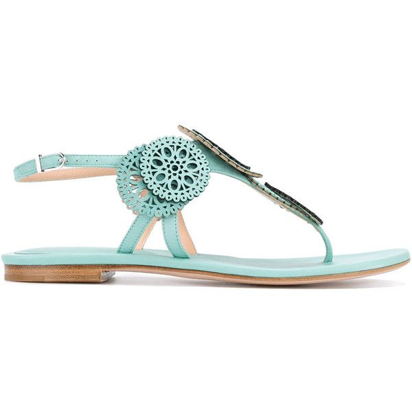 Unützer laser cut detail sandals (€405) ❤ liked on Polyvore featuring shoes, sandals, green, cut-out shoes, green shoes, genuine leather shoes, leather shoes and cutout sandals