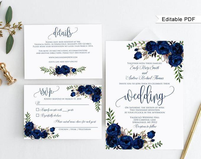 Blue Wedding Invitation Template Royal Blue Wedding Etsy In 2020 Wedding Invitation Templates Royal Blue Wedding Invitations Blue Wedding Invitations