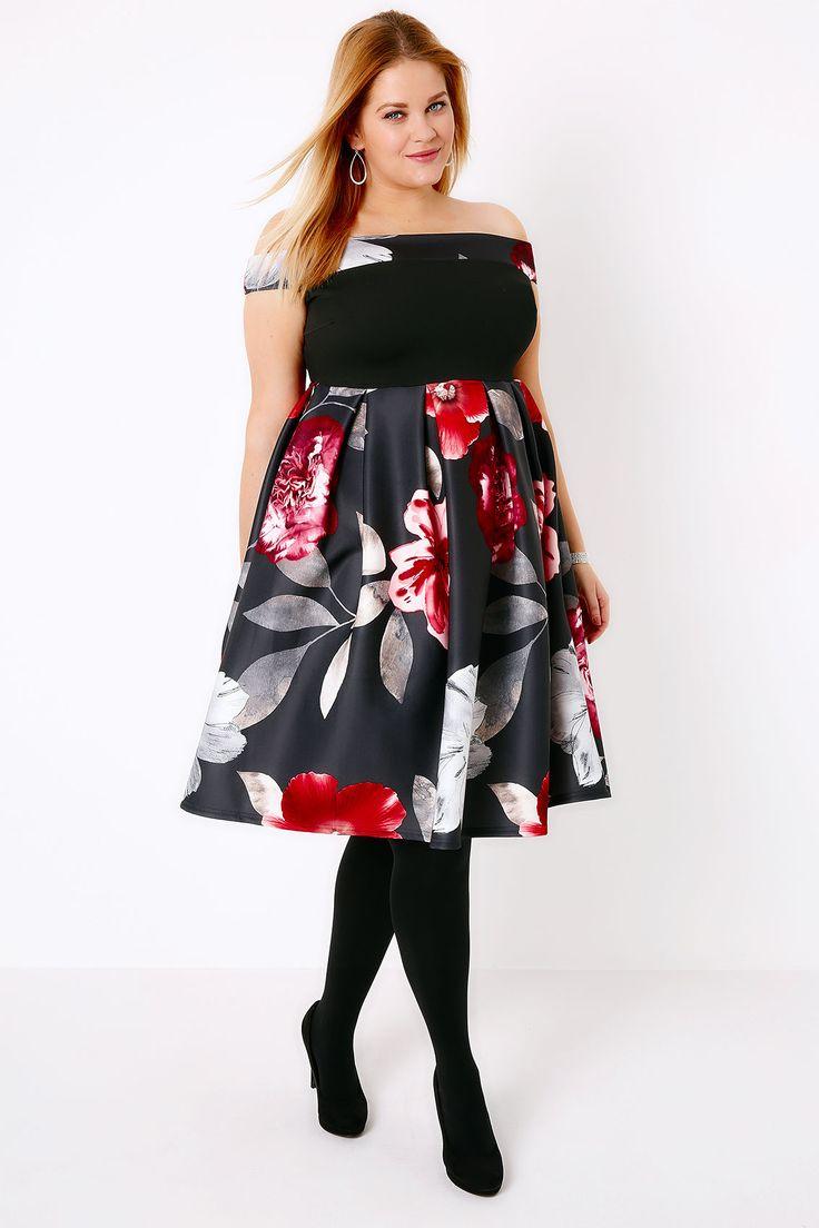 Black & Red Floral Bardot Skater Dress