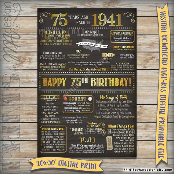 75th Birthday 1941 Printable Chalkboard Poster -- A fun birthday poster filled with facts, events, and tidbits from 1941. Makes an excellent gift or party decoration!  For more 1941-themed digital prints, please view my shop: https://www.etsy.com/shop/PRINTSbyMAdesign/search?search_query=1941&order=date_desc&view_type=gallery&ref=shop_search  *** DIGITAL PRINTABLE FILE ONLY! No physical prints will be sent *** • INSTANT DOWNLOAD! Simply order, download, print and enjoy! The print comes as…