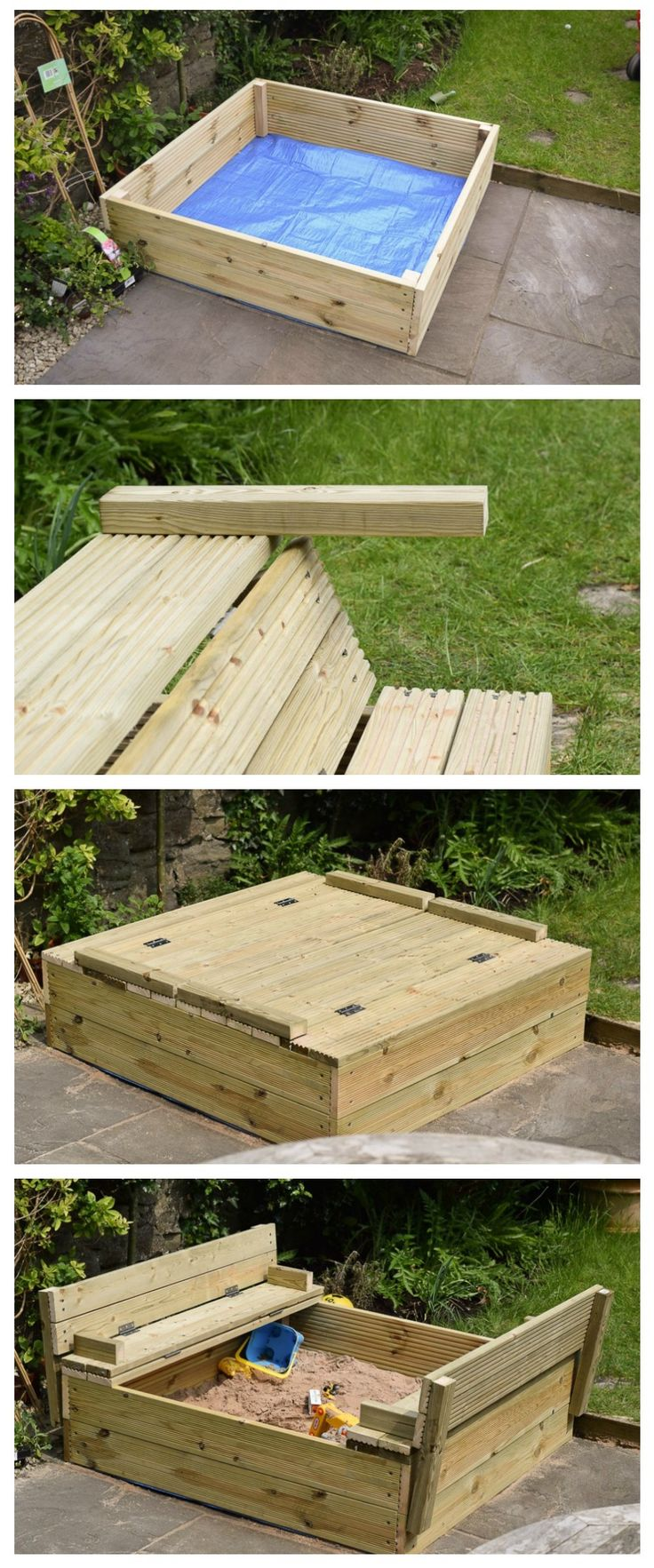 DIY Woodworking Ideas Easy DIY wooden sandpit with fold out benches made with decking boards and a she...