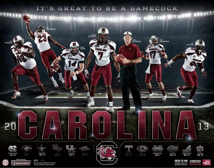 University of South Carolina - 2013 Football Schedule Poster Designed by Aaron Villalobos I Old Hat Creative