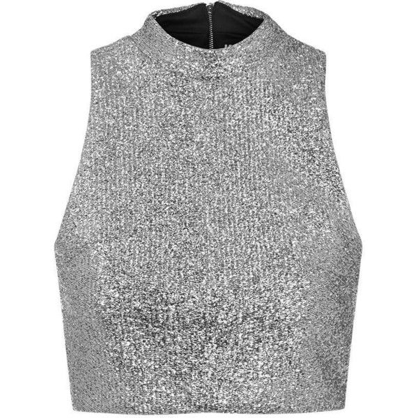TOPSHOP **Metallic Silver Tinsel High Neck Crop Top by Jaded London ($54) ❤ liked on Polyvore featuring tops, shirts, crop tops, crop, silver, party shirts, night out tops, metallic top, metallic shirt and party crop top