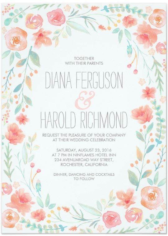 Beautiful spring wedding custom invitation