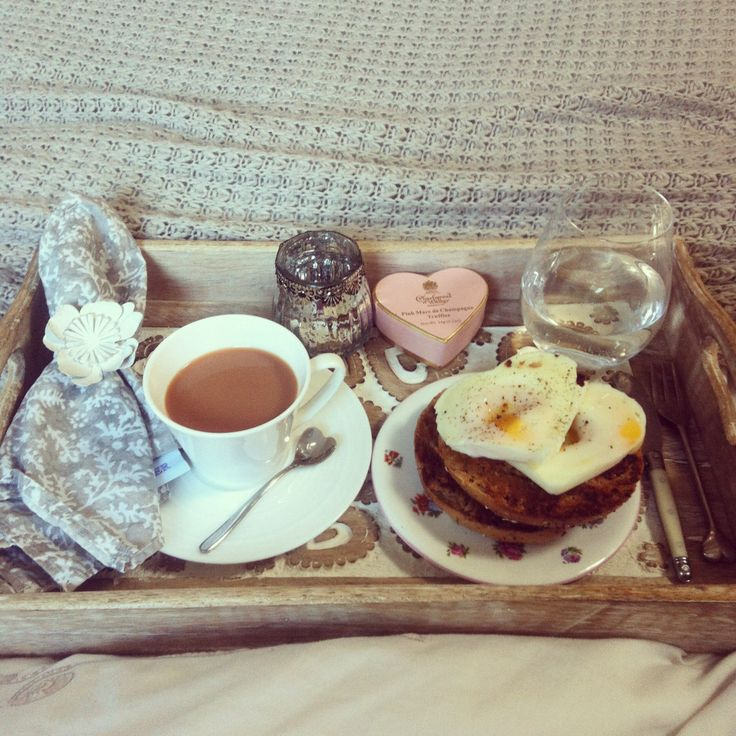 Breakfast In bed tray, heart shaped poached egg, champagne truffles, coffee ☕️