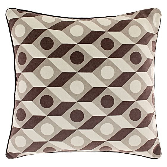 Become lost in the geometric sensations of the soft Kube Cushion from Linen House, a retro look for your contemporary living area or bedroom.