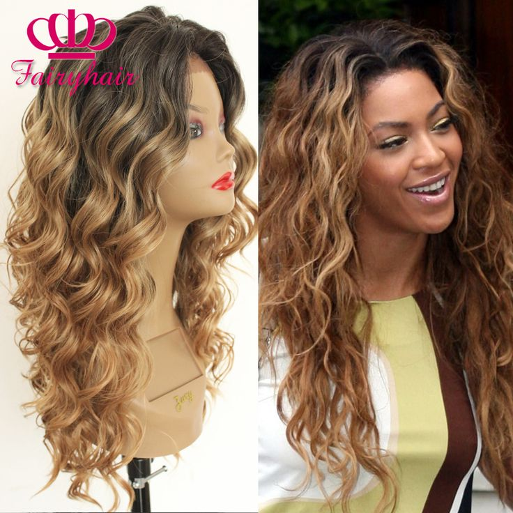 Fashion black blonde ombre wigs long natural body wave wigs Glueless Wavy Beyonce Style synthetic lace front wig for Women