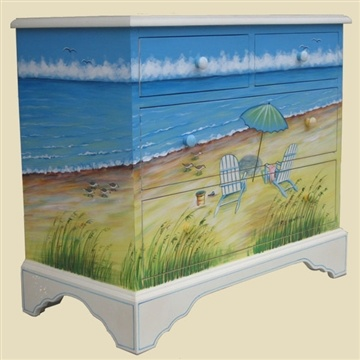 Seaside art painting on dresser. #artfurniture