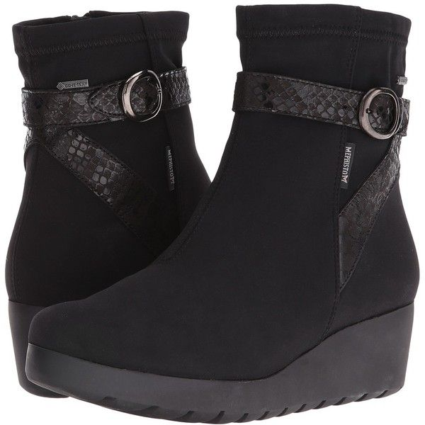 Mephisto Tyba GT (Black Stretch/Queen) Women's  Shoes ($449) ❤ liked on Polyvore featuring shoes, boots, wedge boots, black wedge boots, wedge ankle boots, black bootie and black wedge bootie
