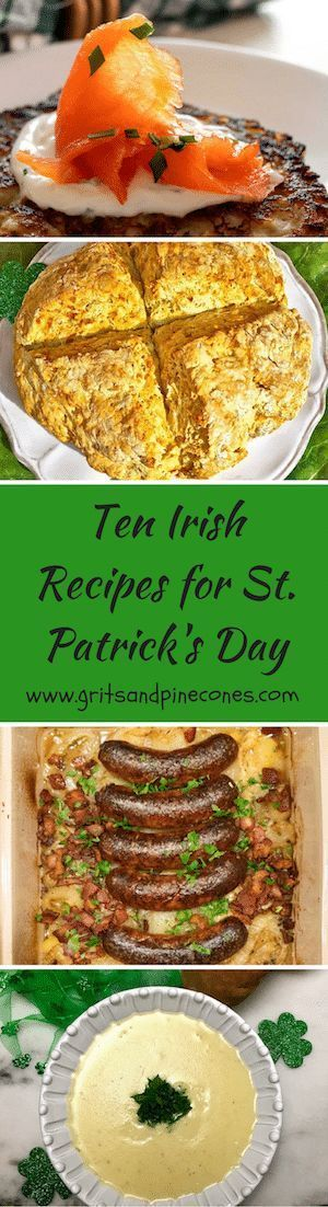 Ditch the green beer this year and try these ten easy and delicious Irish traditional recipes and food ideas for breakfast, lunch, and dinner that will make you wish it was St Patrick's Day all year long!  Includes healthy recipes and gluten-free dishes. #stpatricksdayfoodideas, #stpatricksdayrecipes, #stpatricksday via @gritspinecones