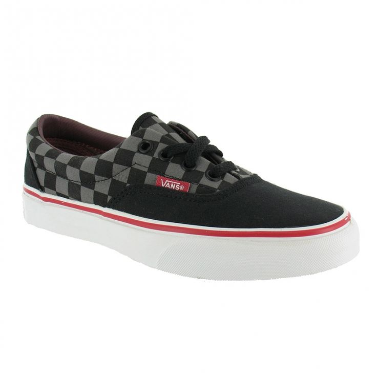 Black Vans Shoes for Girls | Vans Trainers Vans Era Womens Checker Skate Shoes - Black, Grey + Red