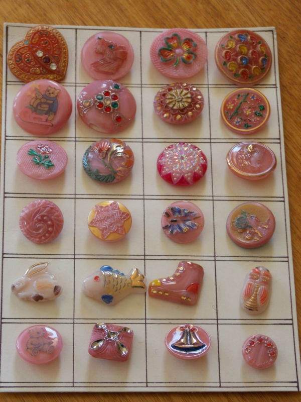 Vintage, collectable pink glass buttons