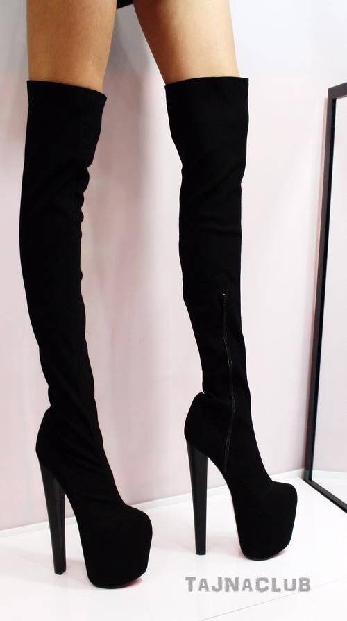 a4af99a9e744 Black Suede Over Knee High Thigh Stretch Platform Boots High Heel Shoes