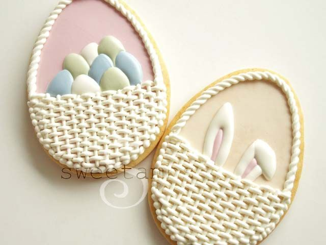 Easter Basket Cookies – Eggs and Bunny Ears!