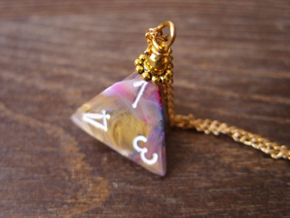 dice necklace D4 dice pendant dungeons and dragons by MageStudio, $15.00
