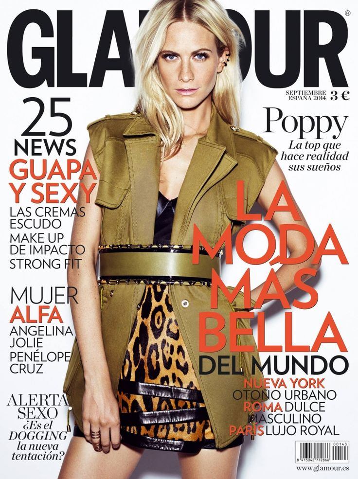 On the cover of Glamour España, model Poppy Delevingne wears the Lotus Pearl long-line silk satin bra.