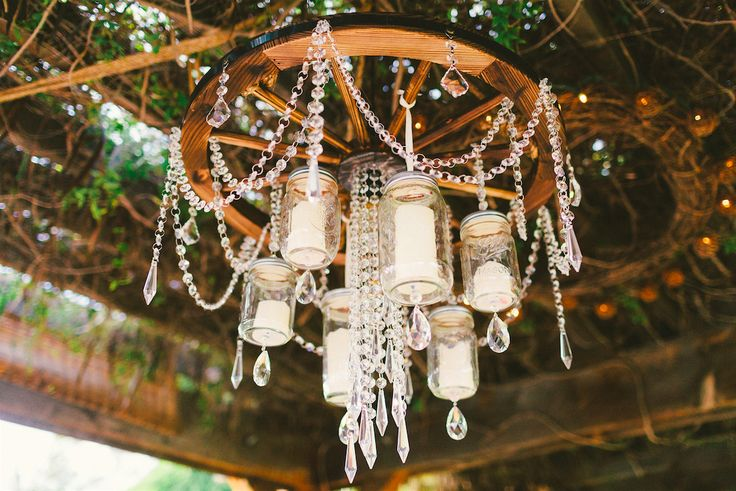 Diy Mason Jar Wagon Wheel Chandelier Wedding Day
