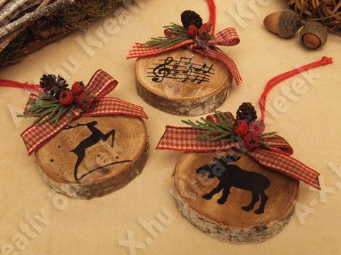 Christmas tree ornaments wood slices