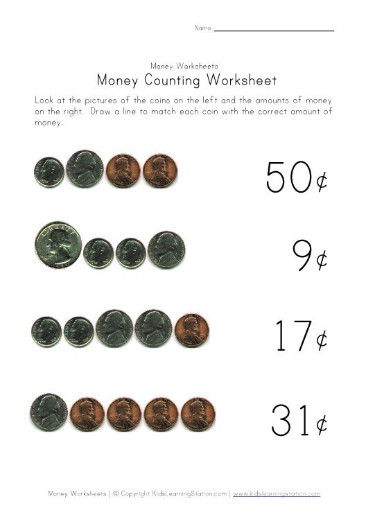 Worksheets For Learning Coins Money Value Homeschool 4
