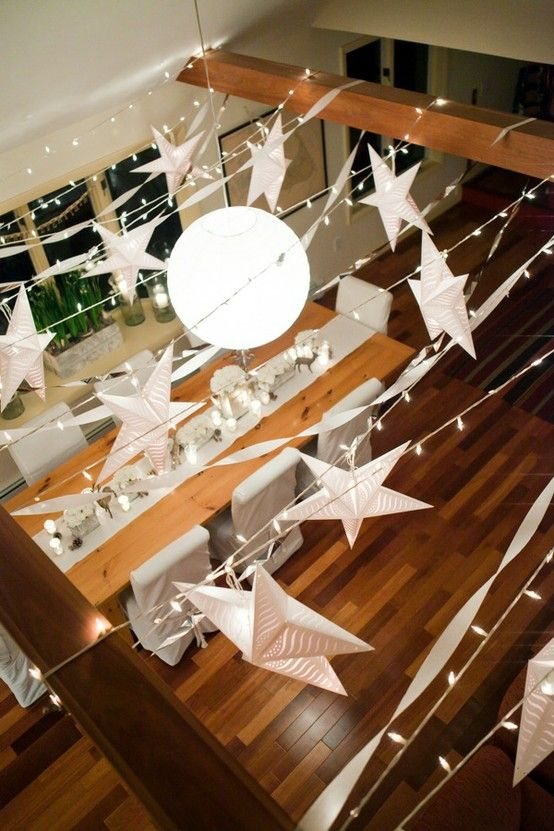 """Pretty star decorations for the ceiling. After all, this is a """"party with the stars""""!"""