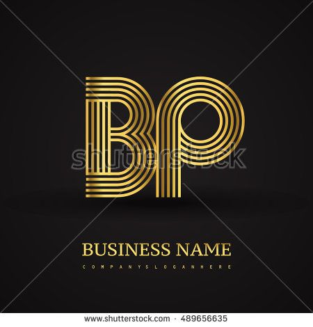 Elegant Initial logo BP letter gold colored. Vector design template elements for company identity.