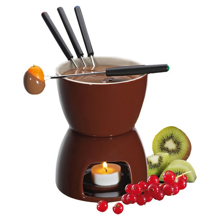 6-Piece Cillo Chocolate Fondue Set in Brown - Make a Meal of It on ...