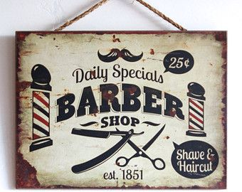 Barber Shop Decor, panneau en bois, entreprise ou un décor à la maison, Style Vintage, Look en détresse