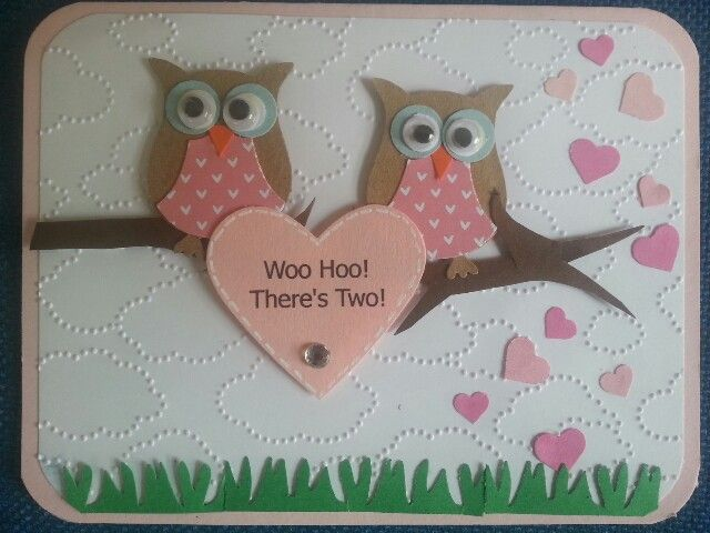 Twins baby card Stampin Up owl punch