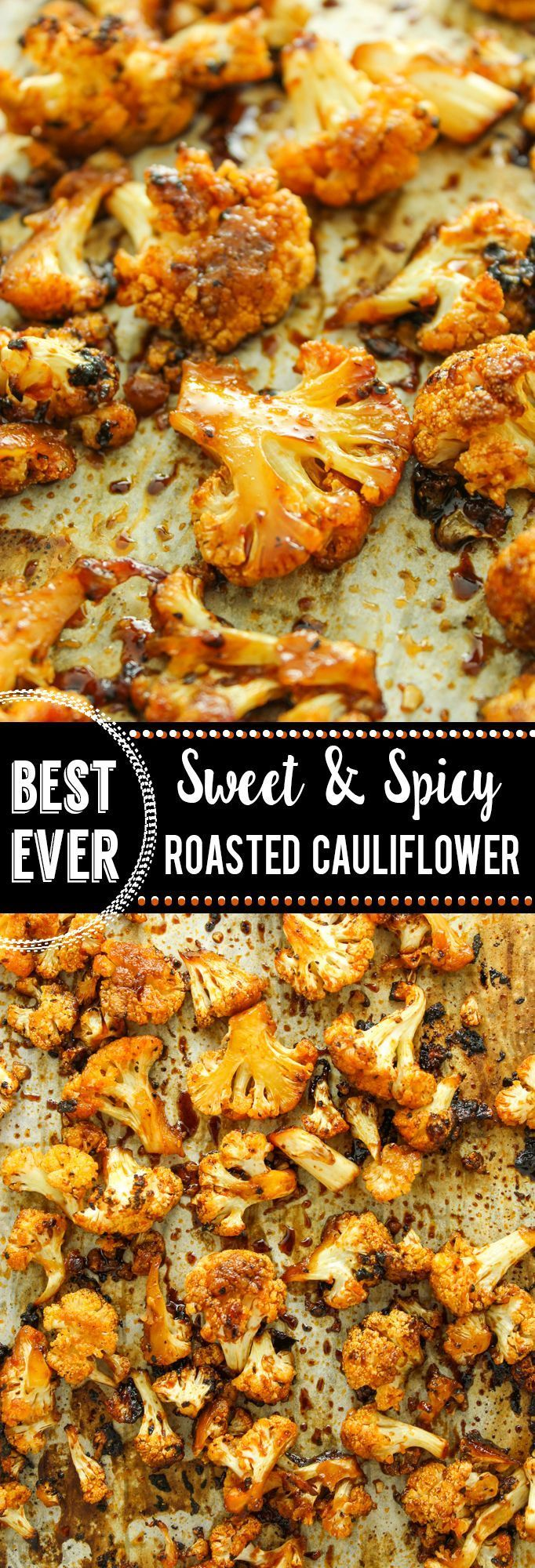 VEGAN Sweet and Spicy Roasted Cauliflower –– FAVORITE easy side dish. Toss everything in a bag, roast it, and you're done. I usually eat half of it off the sheet pan before dinner!!                                                                                                                                                                                 More