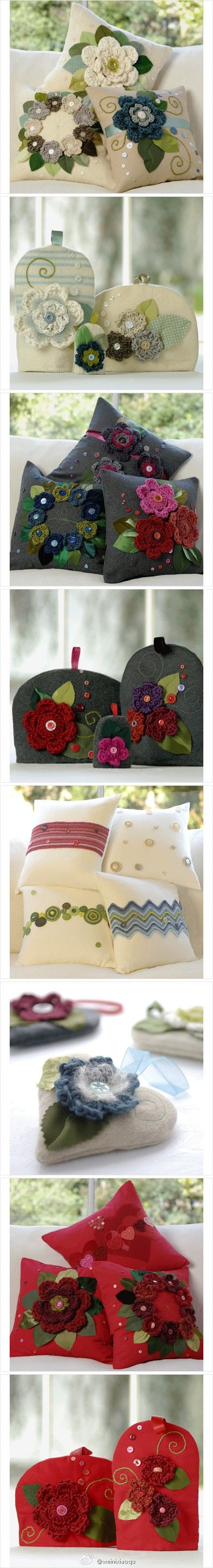 I don't crochet, but surely these flowers could be made out of felt.  These pillows and tea cozies are beautiful!