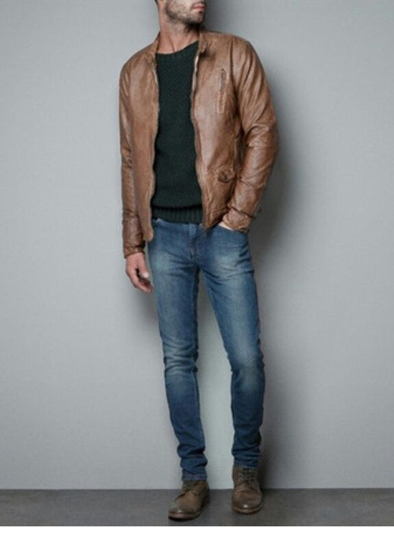 Leather Jacket and Jeans