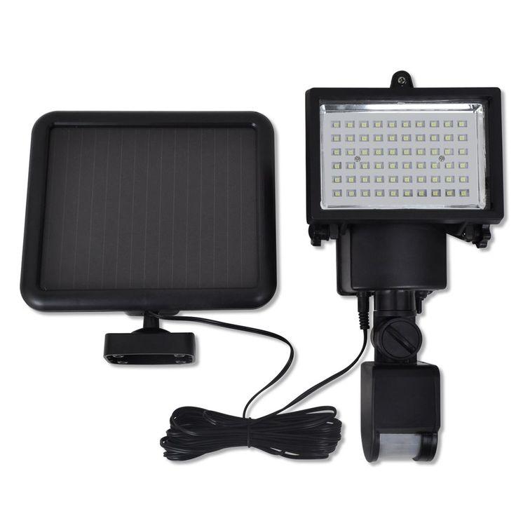 Riflettore solare esterno a LED con sensore Nero