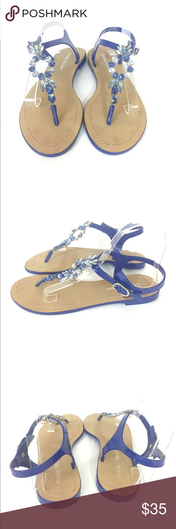 Ivanka Trump Blue Gem Flat Sandals Size 8 For sale are these pretty Ivanka Trump Adoren sandals! Perfect to dress up or dress down!   Women's Size 8M  Great condition! Ivanka Trump Shoes Sandals