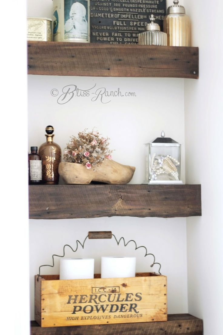 I love the rustic touch of these shelves in the bathroom!/ Bliss Ranch: DIY 100 Year Old Barn Wood Shelves