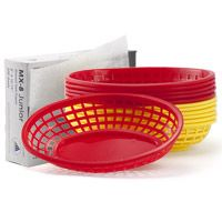 Red and Yellow Plastic Food Baskets with Liners Set  http://www.retroplanet.com/PROD/34473