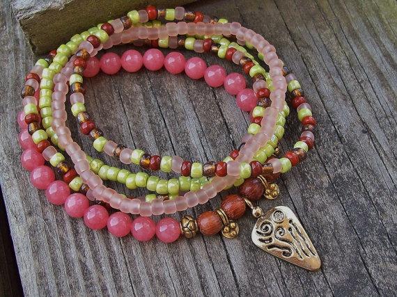 Tribal Princess - Malaysian Jade Stretch Beaded Stack Bracelets by Angelof2, $26.00