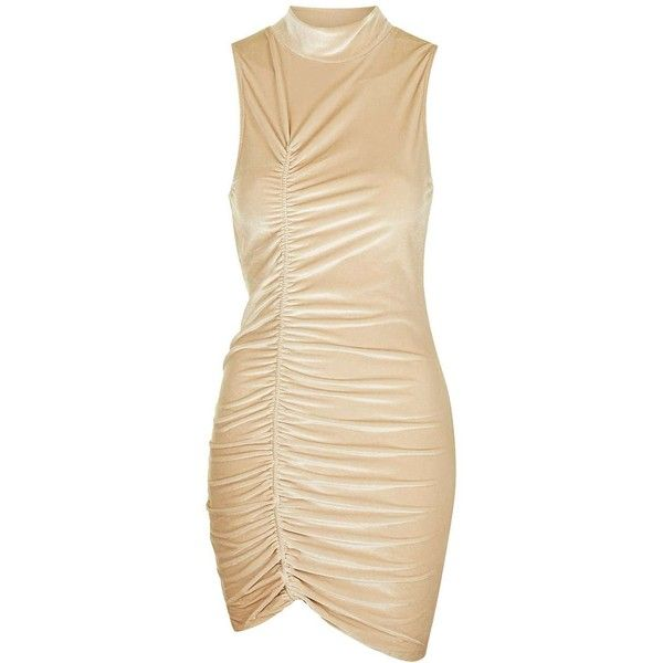Tan Velvet Ruched Mini Dress by Jaded London ($44) ❤ liked on Polyvore featuring dresses, going out dresses, mini party dresses, high neck cocktail dress, short velvet dress and beige cocktail dress