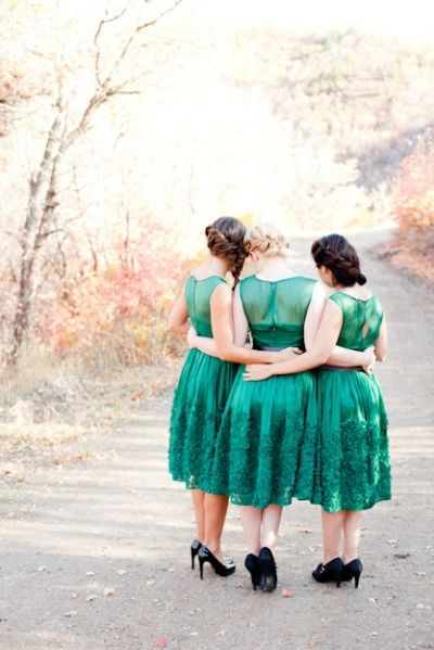 I Do My Little Turn On The Catwalk / colour of the year - emerald green bridesmaids dresses